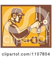 Clipart Retro Factory Worker Operating A Drill Press In Yellow And Brown Royalty Free Vector Illustration