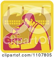 Clipart Retro Male Scientist Looking Into A Microscope With A Factory In The Background Royalty Free Vector Illustration