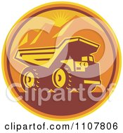 Clipart Retro Mining Dump Truck In A Circle Of Mountains And An Orange Sunset Royalty Free Vector Illustration