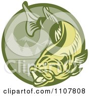 Clipart Leaping Largemouth Bass Fish Over A Green Mountainous Circle Royalty Free Vector Illustration by patrimonio