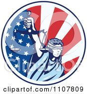 Clipart Retro Circle Of Lady Justice Holding Scales Up Over An American Flag Royalty Free Vector Illustration