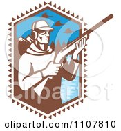 Clipart Retro Duck Hunter Holding A Shotgun By A Mountainous Lake Royalty Free Vector Illustration by patrimonio