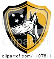 Clipart Doberman Guard Dog Head With Stars On A Black And Yellow Shield Royalty Free Vector Illustration