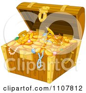 Open Wooden Treasure Chest With Gold Jewelery Coins And Booty