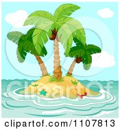 Small Tropical Island With Coconut Palm Trees And Choppy Surf