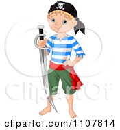 Clipart Blond Pirate Kid Holding A Sword Royalty Free Vector Illustration by Pushkin