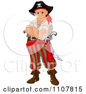 Clipart Tough Blond Male Pirate With Folded Arms Royalty Free Vector Illustration by Pushkin