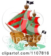 Pirate Ship With Red And Green Sails And Jolly Roger Flags