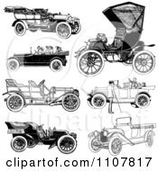 Clipart Retro Black And White Vintage Convertible Cars Royalty Free Vector Illustration