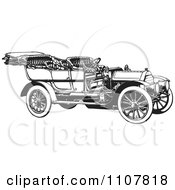 Clipart Retro Black And White Vintage Convertible Car 2 Royalty Free Vector Illustration