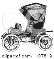 Clipart Retro Black And White Vintage Convertible Car 3 Royalty Free Vector Illustration