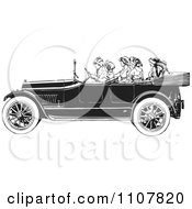 Clipart Women Riding In A Retro Black And White Vintage Convertible Car Royalty Free Vector Illustration