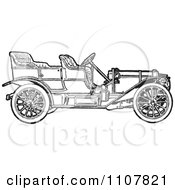 Clipart Retro Black And White Vintage Convertible Car 1 Royalty Free Vector Illustration