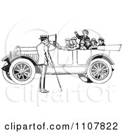 Clipart Family In A Retro Black And White Vintage Convertible Car Royalty Free Vector Illustration