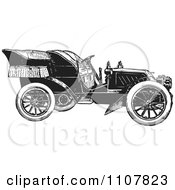 Clipart Retro Black And White Vintage Convertible Car 4 Royalty Free Vector Illustration by BestVector