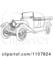 Clipart Retro Black And White Vintage Convertible Car 5 Royalty Free Vector Illustration