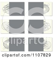 Clipart Beige And Gray Swirl Business Card Designs Royalty Free Vector Illustration