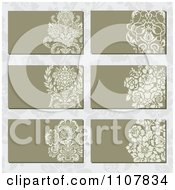 Victorian Floral Business Card Designs Over A Pattern