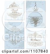 Clipart Set Of Distressed Swirl And Blue Wedding Invitation Designs Royalty Free Vector Illustration