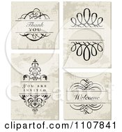 Clipart Set Of Distressed Wedding Invitation Designs Royalty Free Vector Illustration