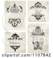 Clipart Set Of Distressed Floral Wedding Invitation Designs Royalty Free Vector Illustration