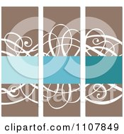 Clipart Vertical Brown White And Blue Swirl Frames Royalty Free Vector Illustration