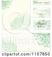 Clipart Set Of Green And Beige Floral Wedding Invitation Designs Royalty Free Vector Illustration
