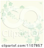 Clipart Beige And Green Blossom Floral Invitation Background With Swirl Rules Royalty Free Vector Illustration