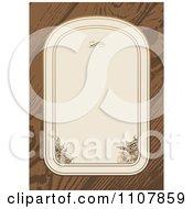 Clipart Beige Floral Frame On Wood Royalty Free Vector Illustration