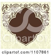 Clipart Brown Art Deco Frame With Floral Designs On A Pattern Royalty Free Vector Illustration