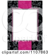 White Invitation Frame With Pink Over A Black Floral Pattern