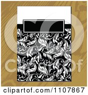 Clipart Black And White Floral Invitation On Wood Royalty Free Vector Illustration