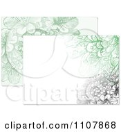 Clipart Black And Green Flower Designs Royalty Free Vector Illustration