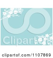 Clipart Blue And White Blossom Floral Invitation Background Royalty Free Vector Illustration