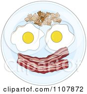 Clipart Eggs Potatoes And Bacon Forming A Happy Face On A Plate Royalty Free Vector Illustration by Maria Bell