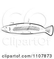 Clipart Black And White Deteriorating And And Decaying Sick Fish Royalty Free Vector Illustration