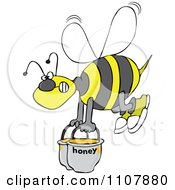 Clipart Bee Carrying Heavy Buckets Of Honey Royalty Free Vector Illustration