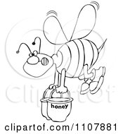 Clipart Outlined Bee Carrying Heavy Buckets Of Honey Royalty Free Vector Illustration