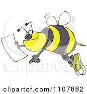 Clipart Bee Pointing And Holding A Map Royalty Free Vector Illustration