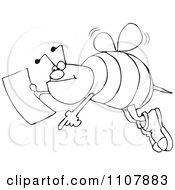 Clipart Outlined Bee Pointing And Holding A Map Royalty Free Vector Illustration