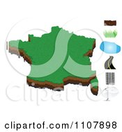 Clipart France Map With Dirt Grass Water Road Tire Tracks And Messenger Icons Royalty Free Vector Illustration by Andrei Marincas