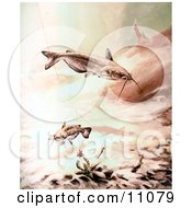 Clipart Illustration Of Channel Catfish Swimming By A Crawdad And Fishing Hook by JVPD