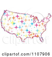 Clipart Colorful Sparkle Star United States Map Royalty Free Vector Illustration