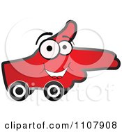 Clipart Happy Red Aiming Hand On Wheels Royalty Free Vector Illustration by Andrei Marincas