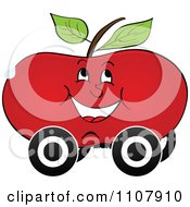 Clipart Happy Apple On Wheels Royalty Free Vector Illustration