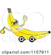 Clipart Happy Banana On Wheels Royalty Free Vector Illustration by Andrei Marincas