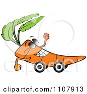 Clipart Happy Carrot On Wheels Royalty Free Vector Illustration