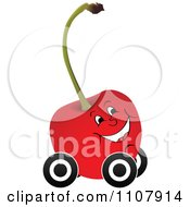 Clipart Happy Cherry On Wheels Royalty Free Vector Illustration by Andrei Marincas