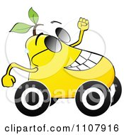 Clipart Happy Pear On Wheels Royalty Free Vector Illustration by Andrei Marincas