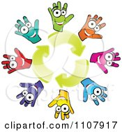 Clipart Circle Of Colorful Hands And Recycle Arrows Royalty Free Vector Illustration by Andrei Marincas